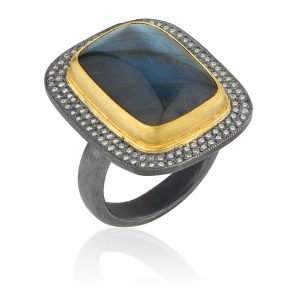 Night Fall Labradorite And Diamond Ring