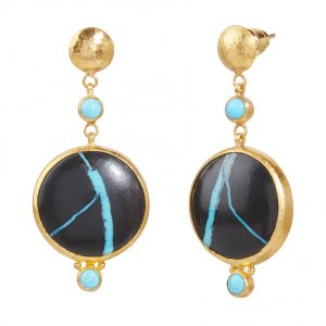 Triple Drop Black Lake Turquoise Earrings
