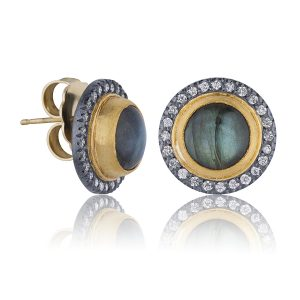 Nightfall Labradorite and Diamond Stud Earrings
