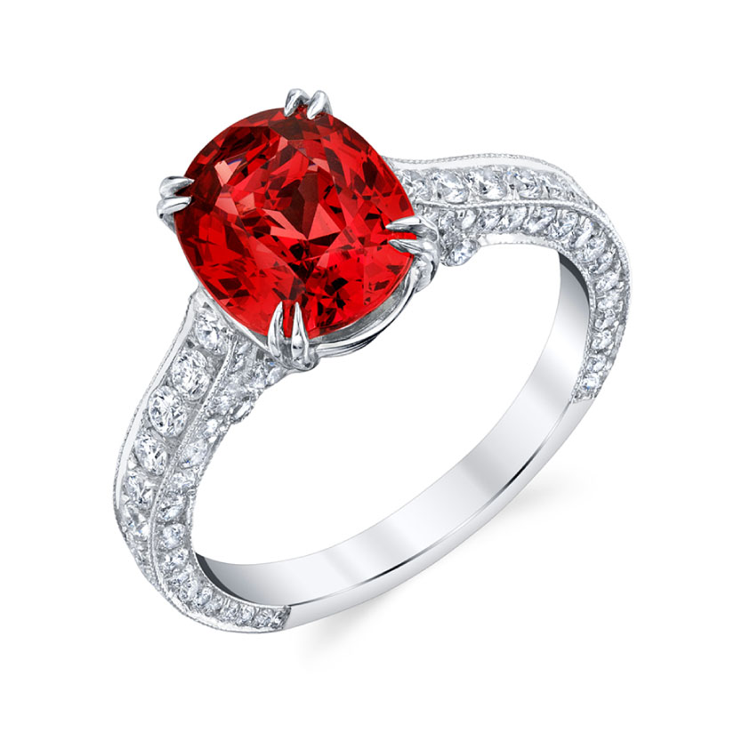 Platinum Cushion Cut Red Spinel and Diamond Ring