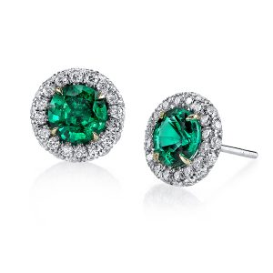 Platinum and 18K Yellow Gold Emerald and Diamond Earrings