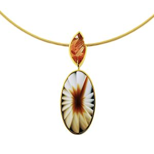 18K Yellow Gold Agate And Sunstone Pendant Necklace