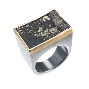 22K Yellow Gold, Oxidized Sterling Silver, Rough Diamond and Pyrite Cube Ring