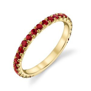 18K Yellow Gold and Ruby French 3/4 Set Band