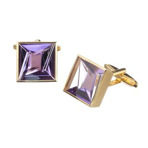 18K Yellow Gold Amethyst Cufflinks.