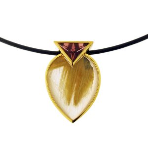 18K Yellow Gold Rutilated Quartz And Pink Tourmaline Pendant Necklace