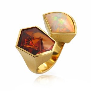 18K Yellow Gold Spessarite and Opal Ring