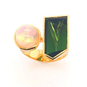 18K Yellow Gold Green Tourmaline And Opal Ring
