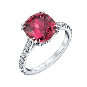 18K White Gold, Pink Tourmaline and Diamond Ring