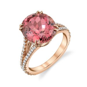 18K Rose Gold, Pink Tourmaline and Diamond Ring