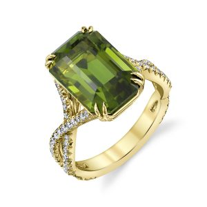 18K Yellow Gold Chrome Tourmaline and Diamond Ring