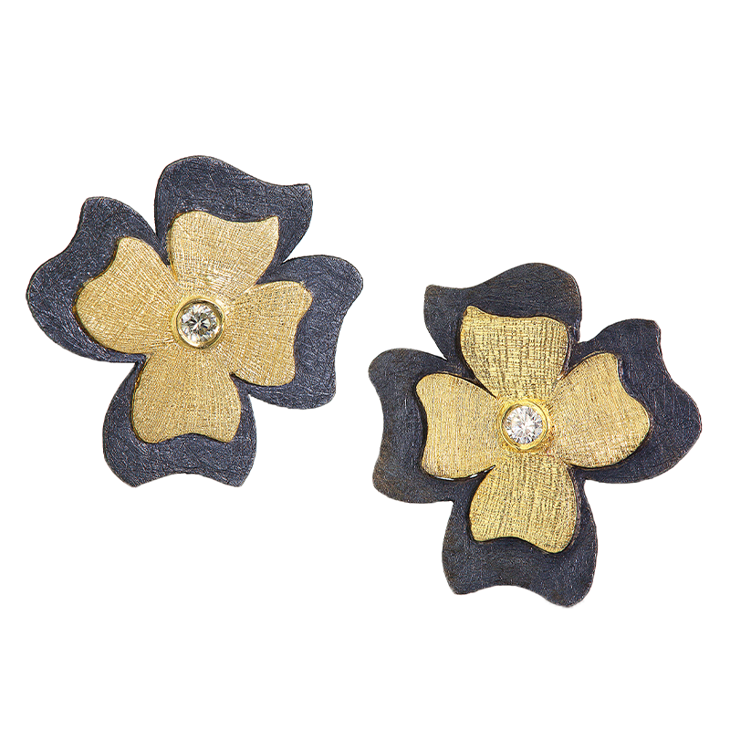 Yellow Gold and Oxidized Sterling Silver Diamond Flower Earrings