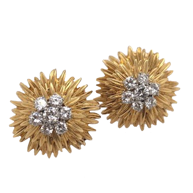 Yellow Gold and Diamond Ear Clips, Van Cleef & Arpels