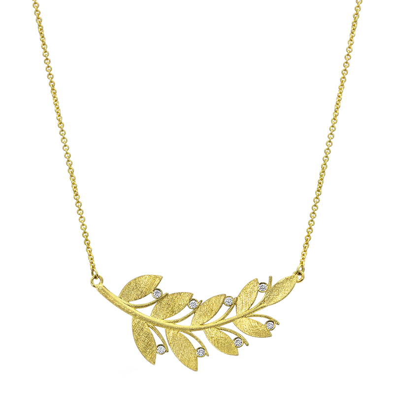 Yellow Gold and Diamond Branch Pendant
