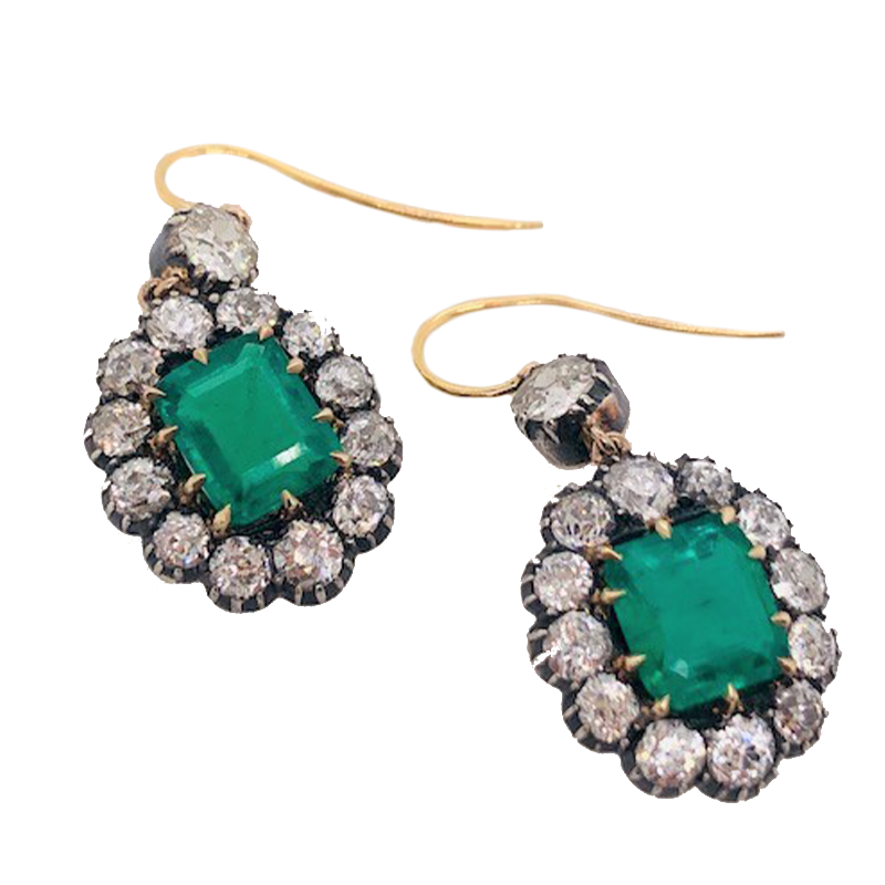 Antique Diamond and Emerald Earrings