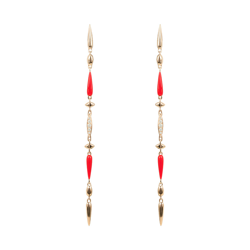 Rose Gold, Diamond and Red Ceramic Link Earrings