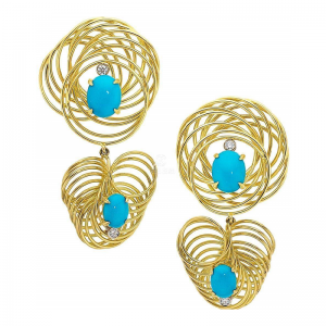 Yellow Gold Turquoise And Diamond Swirl Earrings