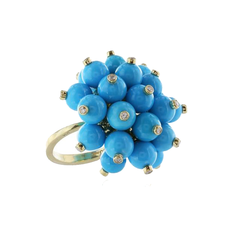 Yellow Gold, Turquoise and Diamond Double Pom-pom Ring