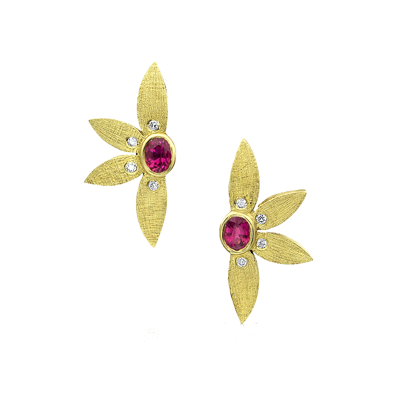 Yellow Gold, Diamond and Ruby Half Flower Earrings