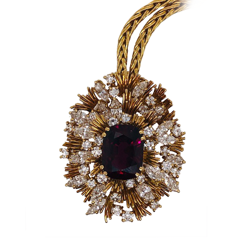 Yellow Gold, Ruby and Diamond Cluster Pendant Necklace