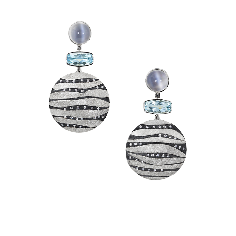 Platinum and Oxidized Sterling Silver Aquamarine, Moonstone and Diamond Earrings