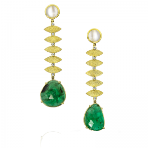 Yellow Gold, Diamond, Moonstone and Emerald Earrings
