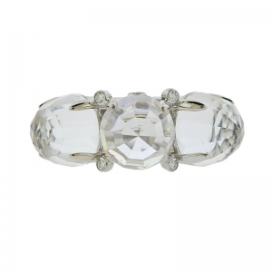 White Gold, Faceted Crystal and Diamond Triple Dome Ring