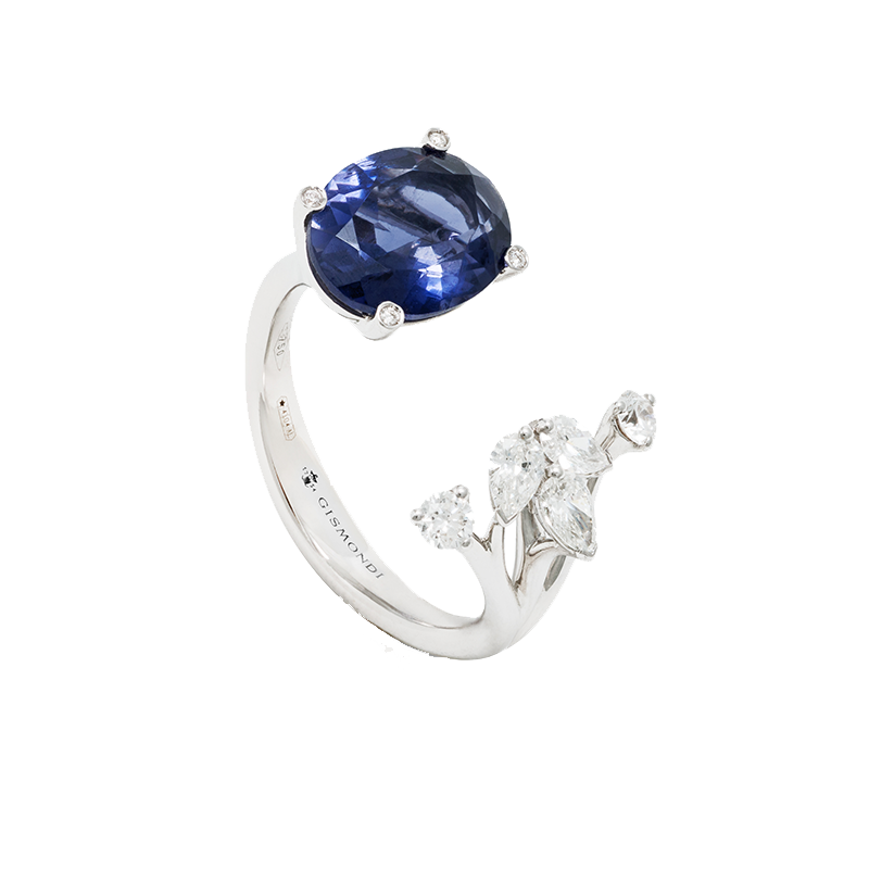 White Gold, Iolite and Diamond Ring