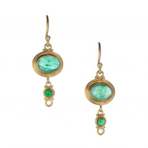 24Kt Yellow Gold Emerald And Diamond Earrings