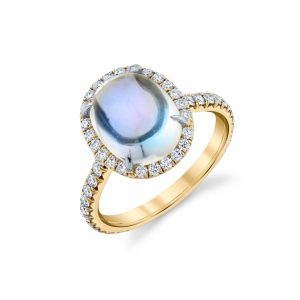 18K Yellow Gold Moonstone and Diamond Ring