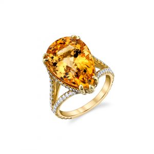 18K Yellow Gold Yellow Topaz & Diamond Ring
