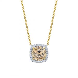 Platinum & 18K Yellow Gold Champagne Diamond Necklace