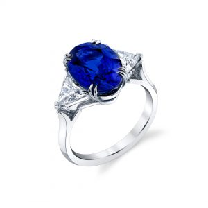 Platinum Blue Ceylon Sapphire and Diamond Ring