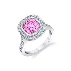 Platinum Cushion Cut Pink Sapphire and Diamond Ring