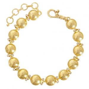24K Yellow Gold Diamond Amulet Bracelet
