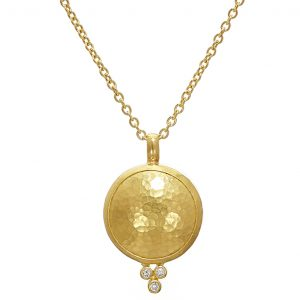 24K/22K Yellow Gold Diamond Amulet Necklace