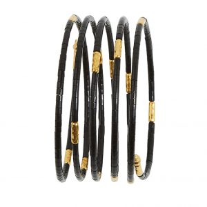 24K Yellow Gold Jet Coil Bracelet