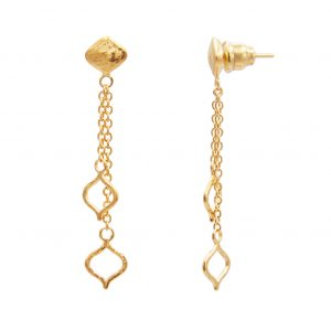 22K Yellow Gold Trellis Drop Earrings