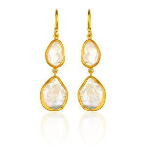 24KT Yellow Gold Karin Pearl Drop Earrings