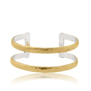 24KT Yellow Gold & Sterling Silver 2-Tier Open Cuff