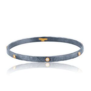 24KT Yellow Gold & Oxidized Sterling Silver Diamond Bangle