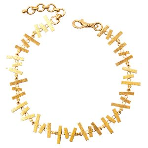 22KT Hammered Yellow Gold Abstract Bracelet