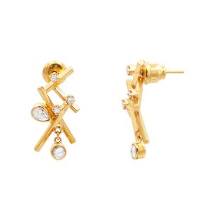 24Kt & 22Kt Yellow Gold Rose-Cut Diamond Earrings