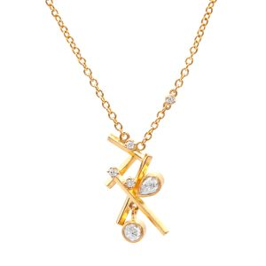 24KT & 22KT Yellow Gold Rose-Cut Diamond Necklace