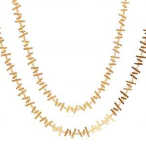 22KT Hammered Yellow Gold Abstract Necklace
