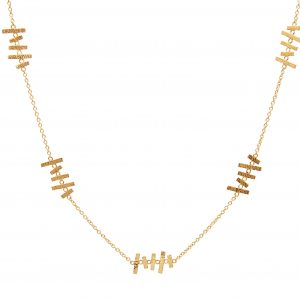 22KT Hammered Yellow Gold Abstract Station Necklace
