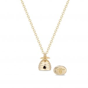 18Kt Yellow Gold Mini Beehive Seal Necklace