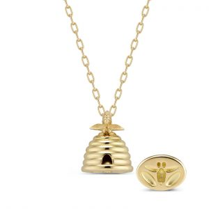 18Kt Yellow Gold Beehive Seal Necklace