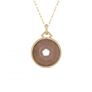 18Kt Yellow Gold New York City Subway Token Necklace