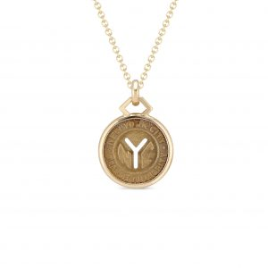 "18Kt Yellow Gold New York City ""Y"" Subway Token Necklace"